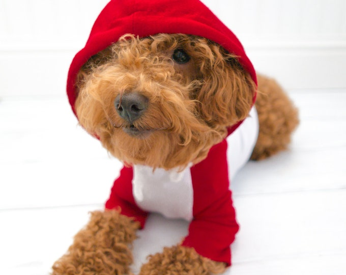 Dog Clothes, Red White Baseball Raglan Hoodie with Pocket