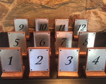 12 Rustic Wood and Galvanized Metal Table Numbers