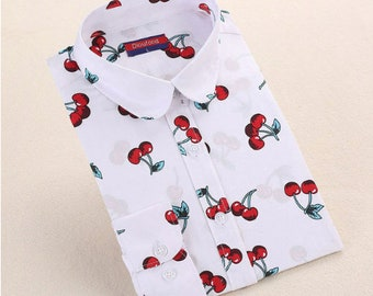 Cherry Blouse Long Sleeve Button Down