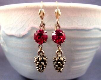 Pine Cone Earrings, Ruby Red Glass Rhinestone Earrings, Brass Dangle Earrings, FREE Shipping U.S.