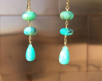 Amazonite drops with blue Peruvian opal rondelles, 14k solid gold