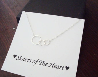 Triple Half Flat Circle Infinity Silver Bracelet ~Personalized Jewelry Gift Card for Sister, Friend, Best Friend, Sister in Law, Step Sister