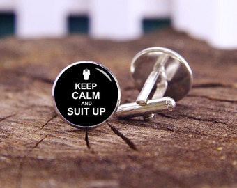 Suit Up cufflinks, Keep Calm And Suit Up Cufflinks, Custom Keep Calm And Any Text, Custom Wedding Cufflinks, Groom Cufflinks, Tie Clips