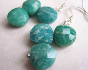 Green Teardrop Earrings, Zig Zag Earrings, Woodland Earrings, Amazonite Gemstone Dangle Earrings