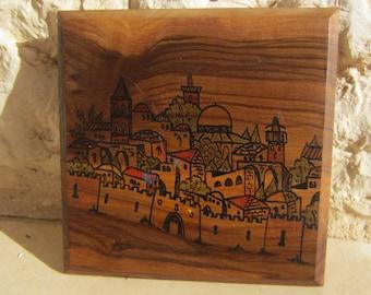 Rare Vintage Colorful Scene of Jerusalem Hand Painted on Olive Wood Bezalel Made in Israel Judaica