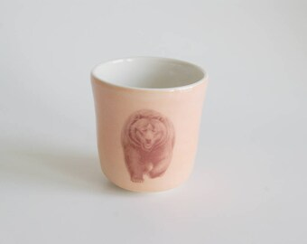 Children's Cup Small Cup Animal Lover Orange Tumbler OOAK Porcelain Cup Handmade Cup Child's Cup