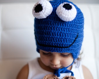 Cookie Monster Hat, Toddler boy Halloween costume, Toddler hat, Cookie Monster, Halloween costume, Toddler costume, Kids hat