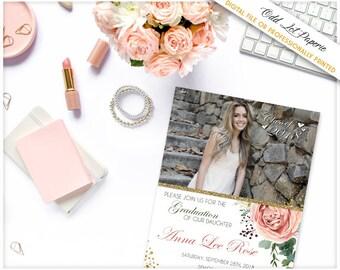 Invitation de fête de l'obtention du diplôme Boho, bohème Floral, Floral Graduation Photo imprimable Invitation aquarelle, verdure rose rose, photo