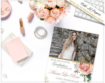Boho Graduation Party Invitation, Bohemian Floral, Floral Graduation Photo Printable Invitation Watercolor, pink rose greenery, photo