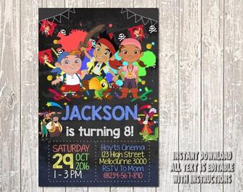 Jake and The Neverland Invitation, Jake Invitation, Jake and The Neverland Birthday, Jake Birthday, Jake Party, The Neverland, Boy_BS065