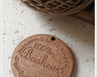 Set of 25 tags in wood with writing 100% happiness diameter 4cm