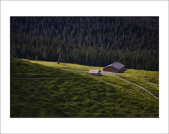 Swiss Alps - Mountain Hut in Sunset Light - Switzerland - Color Photo Print - Fine Art Photography (SW04)