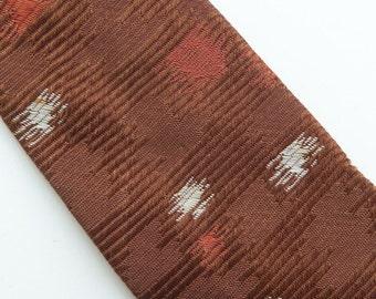 Vintage 60s Skinny Tie Necktie Camel Chocolate Brown Silk Rayon