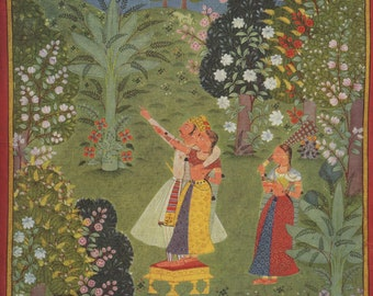 Indian Miniature Painting - Lovers Pointing to the Crescent Moon - 1970 printed reproduction