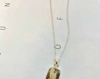 Autumn Peanut Wood gemstone pendant  with silver chain necklace