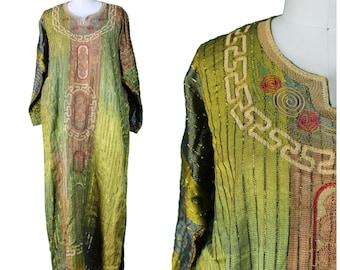 Vintage Printed Kaftan / Vintage Earthy Caftan / Ethnic Tunic Dress / Ethnic Vintage Kaftan / Vintage Leisure Dress / Vintage Ethnic Dress