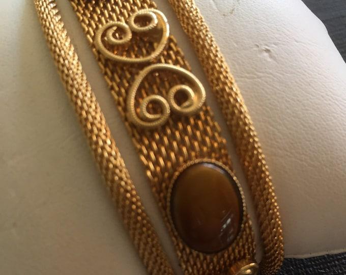 Vintage Celebrity NY Faux Tigers Eye & Gold Tone Mesh Bracelet Signed