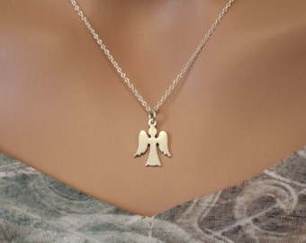 Sterling Silver Angel Charm Necklace, Angel Necklace, Guardian Angel Necklace, Silver Angel Charm Necklace, Heavenly Angel Necklace