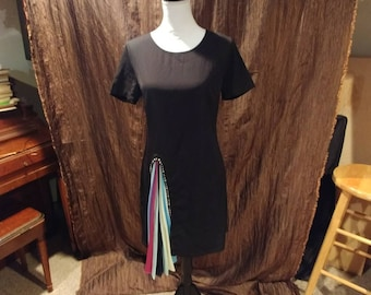 Vintage black midi dress, rainbow split with crystals, free shipping