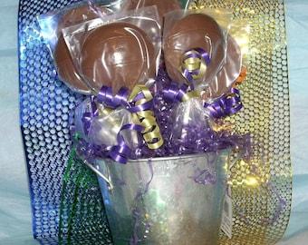 12 Chocolate Basketball Lollipops