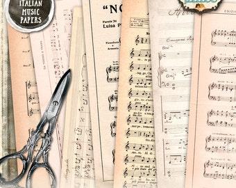 ITALIAN MUSIC PAPER 10 large digital collage sheet - vintage italy handwriting for scrapbooking jpg art instant download printable - pp134