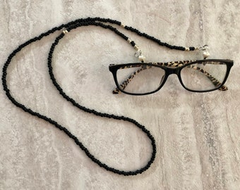 Black Beaded Glasses Lanyard