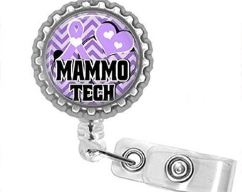 Mammo Tech Bottlecap Badge Reel Badge ID Holder You Choose Swivel Alligator Clip Or Slide Clip
