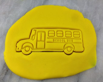 School Bus Cookie Cutter 2-Piece, Outline & Stamp - SHARP EDGES - FAST Shipping - Choose Your Own Size!