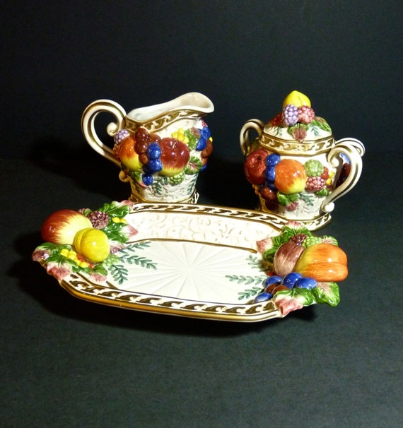FITZ AND FLOYD ~ Cream and Sugar ~ Plus Small Tray ~ Gorgeous Fruit Relief ~ Fitz and Floyd Classics Venezia Festive Holiday