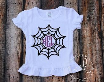 Girls Halloween Shirt - Spider Web Monogram Shirt - Halloween Shirt - Girls Halloween Outfit - Halloween Tee - Spider Web Shirt