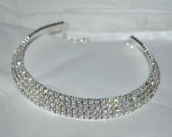 Bridal crystal Necklace choker,  Wedding Necklace, Bridal Accessory, Wedding Jewelry, Rhinestone Necklace, Bridal Jewelry, prom jewelry