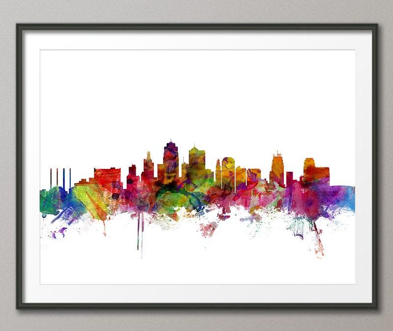 Kansas City Skyline Stadtbild Kunstdruck 1221