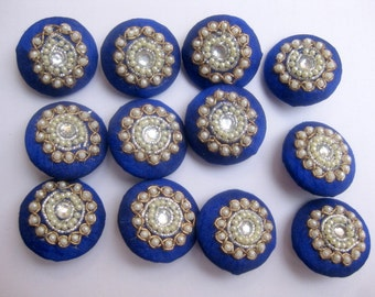 Decorative buttons/ embroidered buttons/ blue buttons/ show buttons/ beaded buttons. 12 pieces.