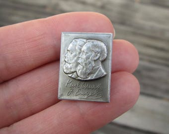Vintage Soviet pin USSR old badge - two founders of communism Karl Marx and  Friedrich Engels German Philosopher Communism Socialist Party