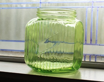 Large Green Glass Jar Kitchen Canister Vintage 1930s Cookie Jar Depression Glass