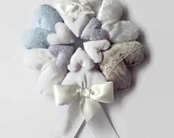 Hanging Heart Wreath / Heart Wreath / Shabby Chic Heart / Fabric Hearts / Heart Garland / Stuffed Heart / Heart Decoration