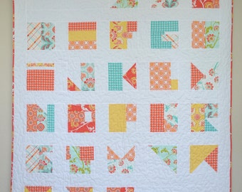 Modern Alphabet Quilt // Handmade // Avignon Fabric - Orange, Blue, Red and Yellow