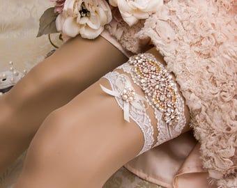 Rose Gold Garter, Rose Gold Wedding Garter Set, Rose Gold Bridal Garter, Rhinestone Rose Gold Garter, Ivory Garter, Blush Garter