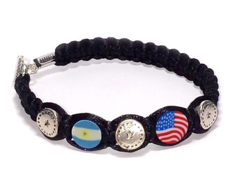 """Argentina & United States Flags 2 mm Satin Cord bracelet Proud Collection """"Be proud and show your Hands""""."""