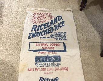 Vintage Riceland Enriched Extra Long Grain Rice 100 lbs. Used Cotton Sack
