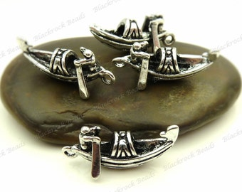 4 Gondola Charms ( 3D and Double Sided ) 23x11mm Antique Silver Tone Metal - BH32
