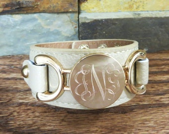 Monogrammed Bracelet - Beige with Gold Initial Bracelet- Personalized- Gifts for Women - Girls- Friends Gift- Birthday- Mother's Day