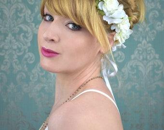 White Bridal Flower Hair Wreath | Flower Garland | Boho Bride | Flower Wreath | Bridal Headpiece | Ivory Flower Crown