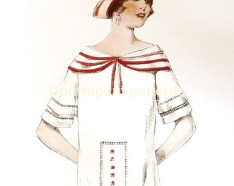 1920s triple sailor collar in a dress sewing pattern.