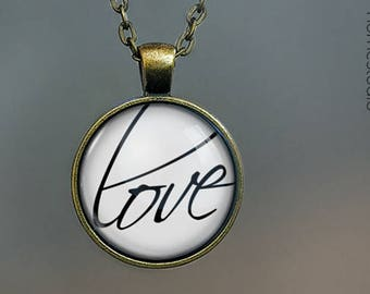 Love Script  Glass Dome Pendant, Necklace  or Keychain Key Ring. Gift Present metal round art photo jewelry by HomeStudio valentines day