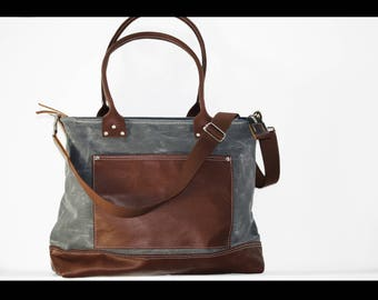 Large zippered tote bag - cross body tote - 010057