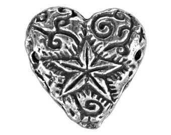 Green Girl Shining Heart 9/16 inch ( 15 mm ) Pewter Link Antique Silver Color