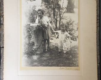 Antique Studio Photograph, 1920s Children, Brother and Sister, Boy and Girl