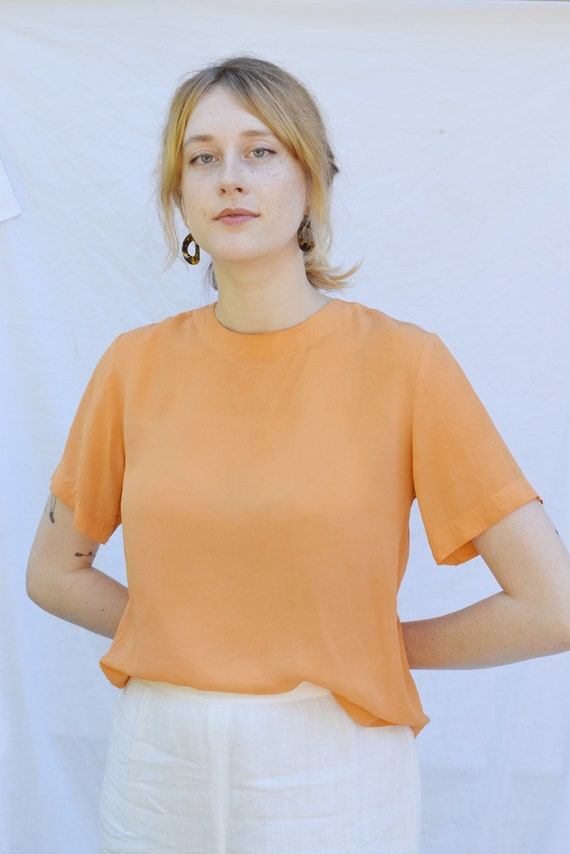 Apricot Silk T-Shirt  |  Print Optional