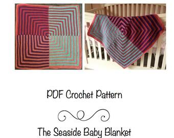 PDF Pattern- Seaside Baby Blanket, crochet mitered square, mitered square blanket, crochet baby blanket, receiving blanket